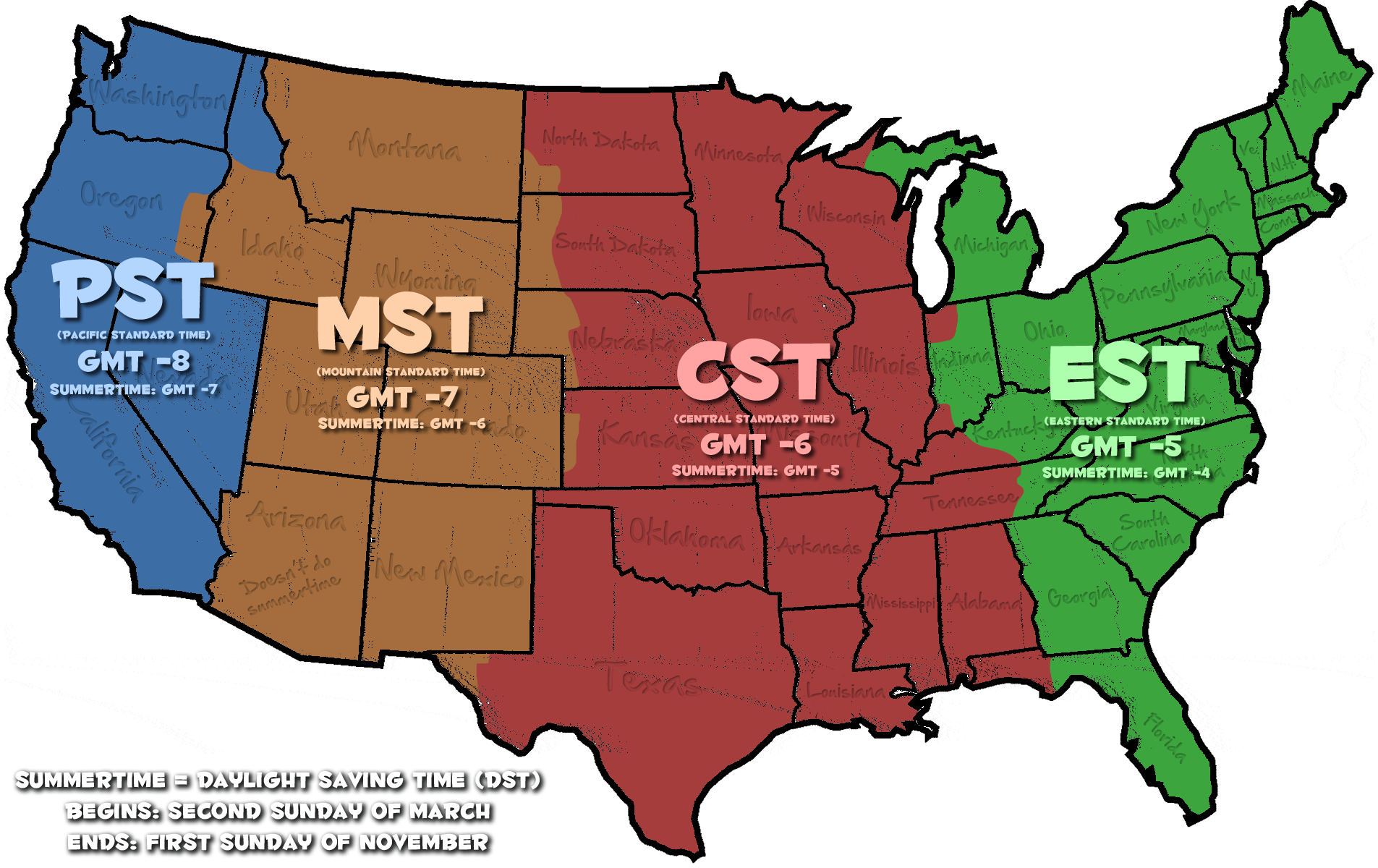OnTimeZonecom Time Zones For The USA And North America Central - Map us timezones